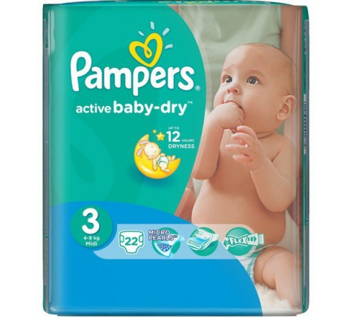 pampers active baby midi 3 ( 4-9 кг.) 22 шт.