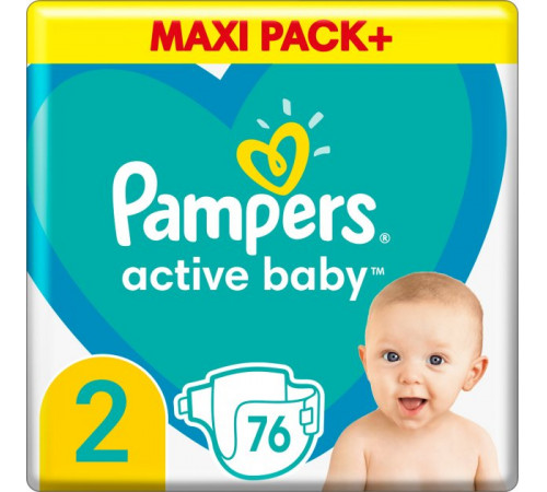 pampers active baby mini 2 (4-8 kg.) 76 buc.