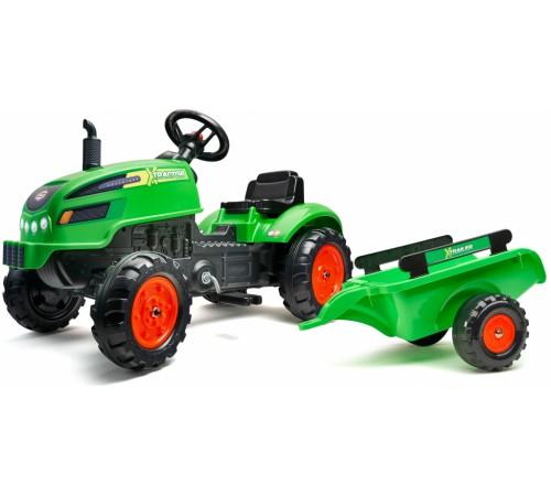 falk 2048ab Трактор с педалями и прицепом зелёный