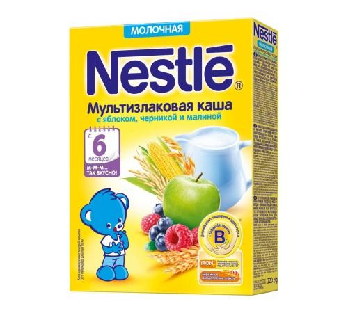 nestle Каша мультизлаковая молочная с яблоком, черникой и малиной 220 гр. (6 м+)