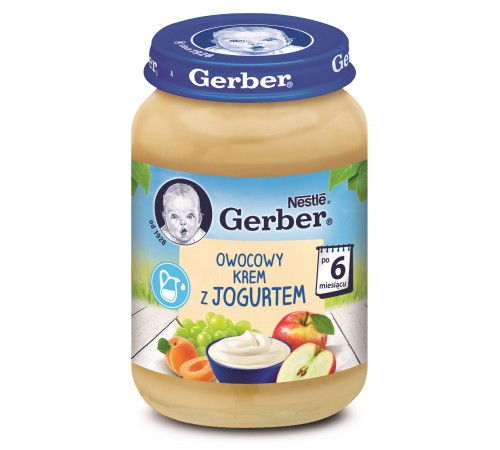 """gerber piure """"amestec de fructe cu iaurt"""" (6m +) 190 gr."""