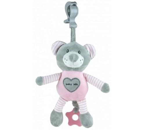 """baby mix stk-19445 pb Игрушка для путешествий с вибрацией """"Мишка"""" розовый"""