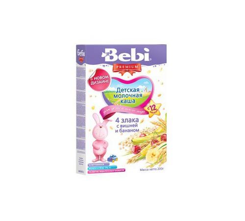 bebi молочная каша из 4 злаков с вишней и бананом 200gr.(12+)