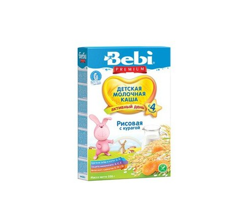 bebi молочная рисовая каша с курагой 250gr.(4+)