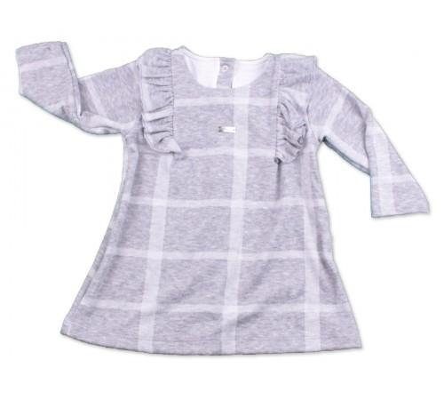 Одежда для малышей в Молдове flexi 229135 Туника в клетку серая  (9-24 мес.)