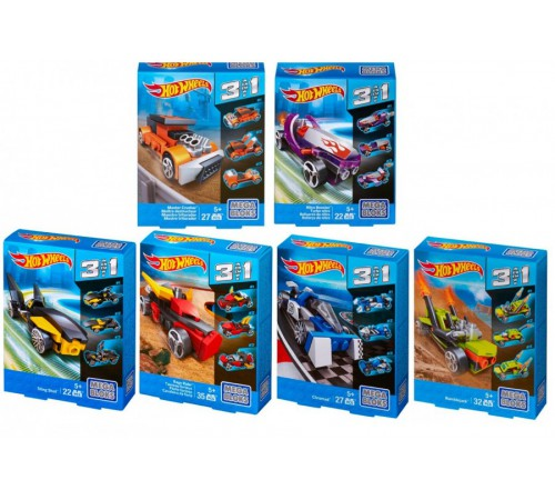 "hot wheels cnf33 Конструктор 3в1  ""mega bloks"" в асс. (6)"