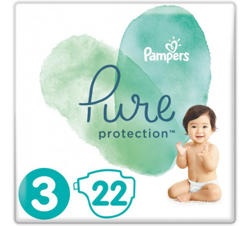 pampers pure protection 3 (6-10 кг.) 22 шт.