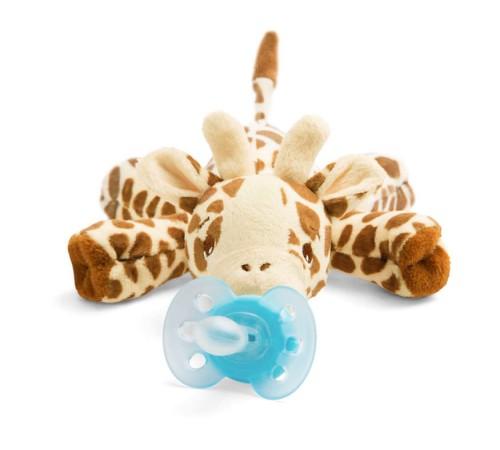 """avent scf348/11 suzeta din silicon ultra-air cu jucărie de pluș """"girafă"""" (0-6 m.) 1 buc."""
