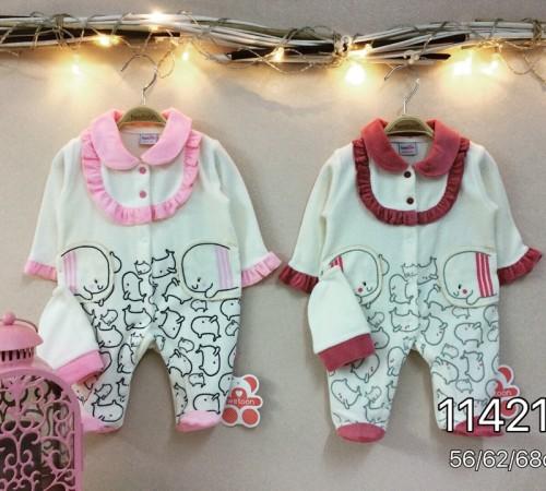 Одежда для малышей в Молдове twetoon baby Комбинезон с шапочкой, велюр 114213