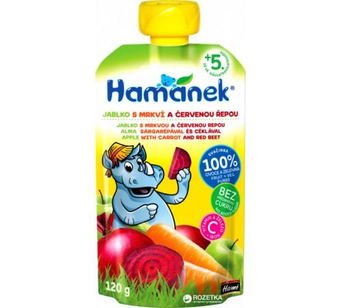 """Детское питание в Молдове hame Пюре """"hamanek"""" Яблоко-Морковь-Свекла (5 м+) 120 гр."""