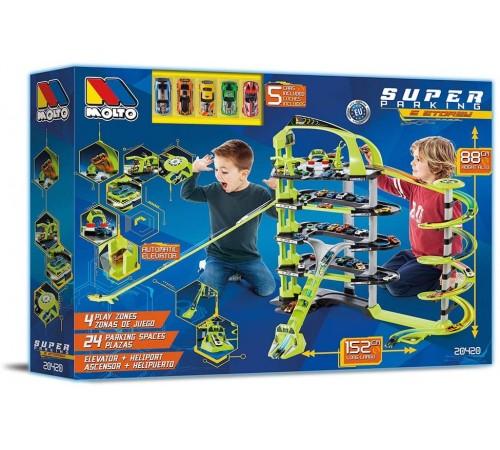 """molto 20420 Игра Игровой набор с 5 машинками """"Парковка 5 уровней"""""""