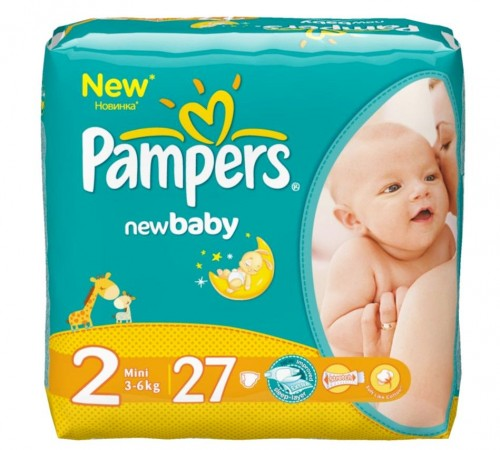 pampers new baby mini 2 ( 3-6 kg.) 27 buc.