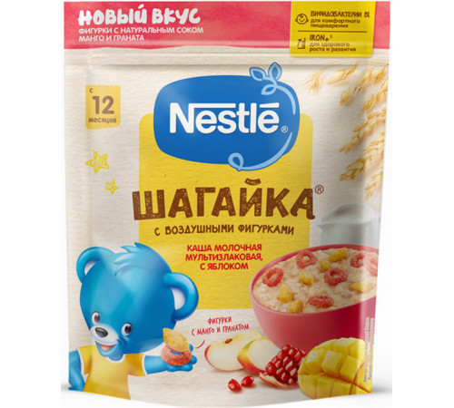 Детское питание в Молдове nestle Каша молочная Шагайка мультизлаковая с фигурками яблоко-манго-гранат 190 гр. (12 м+)