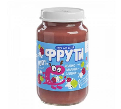 """""""Маленькое счастье"""" piure """"Фрути""""de mere, zmeură, cremă 180 gr. (6m+)"""