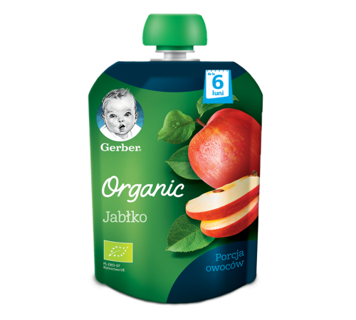"""Детское питание в Молдове gerber organic Пюре """"Яблоко"""" 90 гр. (6м +)"""