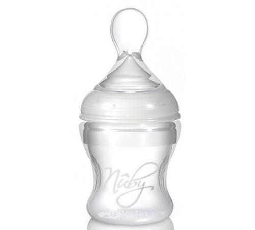 nuby id67275 sticlă de silicon cu lingură softflex (0m +) 150 ml.