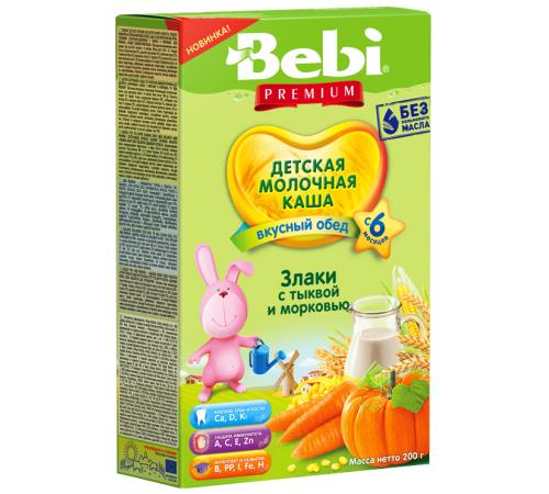Детское питание в Молдове bebi Молочная каша premium злаки с тыквой и морковью (6+) 200 гр.