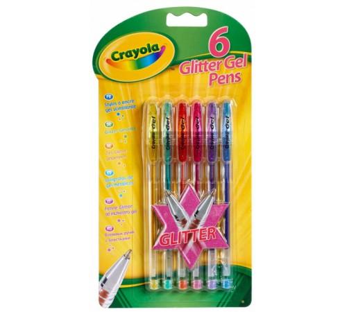 crayola 7747 Цветные гелевые ручки с блестками (6 шт.)