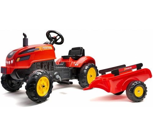 falk 2046ab tractor cu pedale și remorcă roșu