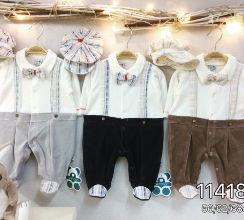 Одежда для малышей в Молдове twetoon baby Комбинезон с шапочкой, велюр 114183