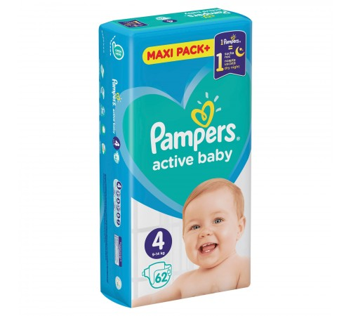 pampers active baby 4 (9-14 кг.) 62 шт.