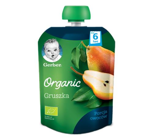 """gerber organic  piure """"pere"""" 90 gr. (6+)"""