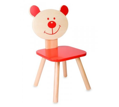 """classic world 4802 Деревянный стульчик """"Медведь"""" красный"""