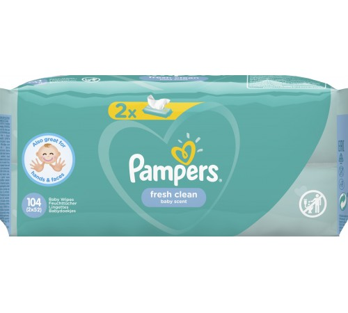 pampers servetele umede fresh clean 104buc (2x52), 7388