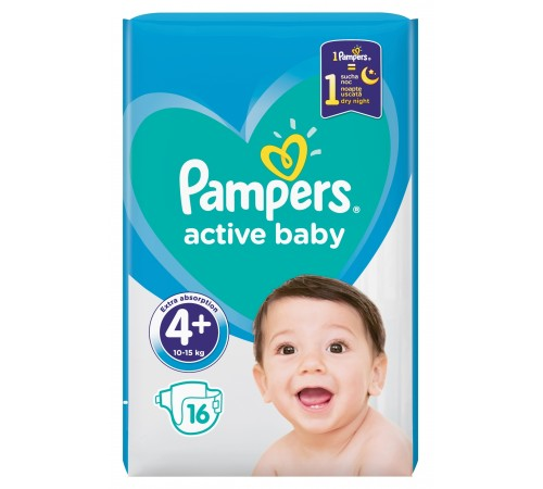 pampers active baby 4+ (10-15 kg.) 16 buc.