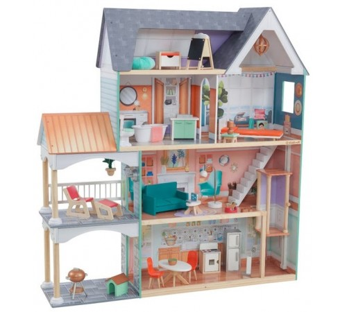kidkraft 65987 casa pentru păpuși dahlia mansion dollhouse with ez kraft assembly