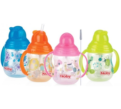 "nuby  id10324 cană ""no-spill flip-it"" cu pai (12m+) 270 ml."
