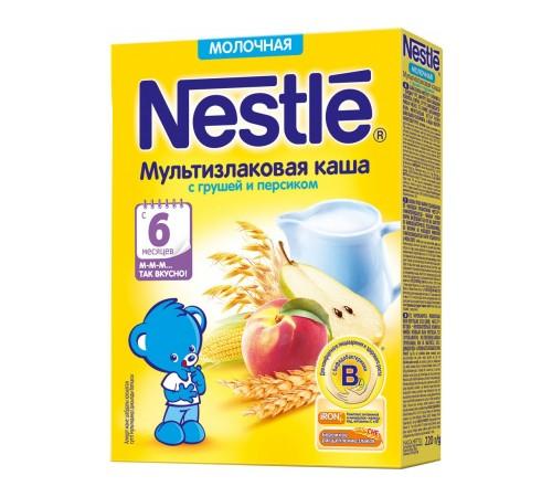 nestle Каша мультизлаковая молочная с грушей и персиком 220 гр. (6 м+)