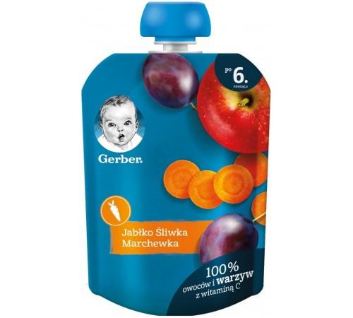 Детское питание в Молдове gerber Пюре «Яблоко-слива-морковь» (6 м+) 90 гр.