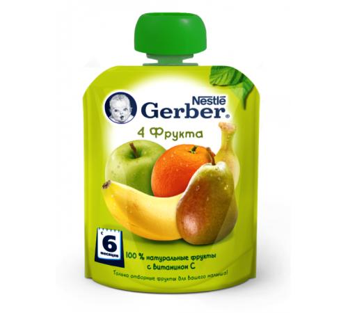 gerber пюре 4 фрукта 90 гр