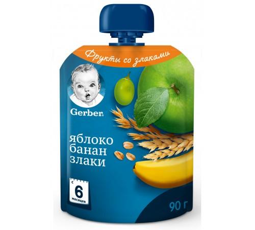 """gerber Пюре """"Яблоко-банан-злаки"""" 90 гр. (6+)"""