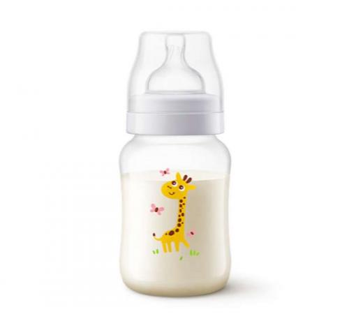 """avent scf821/12 sticluta anti-colic """"girafă"""" 260 ml. (0 +) 1 buc."""