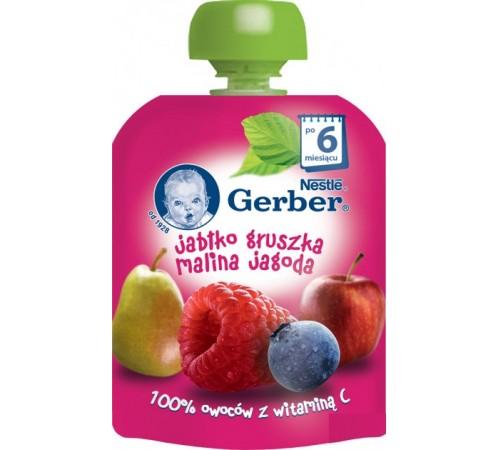 Детское питание в Молдове gerber Пюре  «Яблоко-груша-малина-черника» 90 гр. (6+)