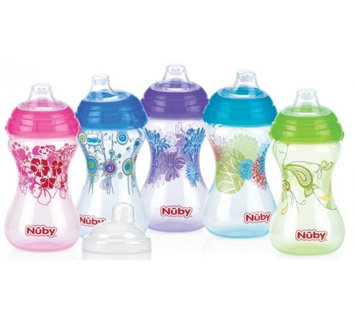 nuby id10282 cană easy grip no-spill 300 ml. (6 m +)