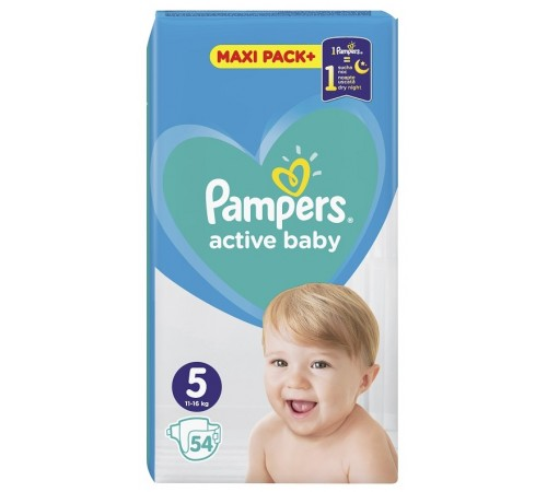 pampers active baby 5 (11-16 kg.) 54 buc.