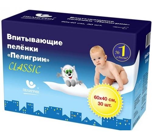 """Пелигрин Пеленки впитывающие """"classic"""" (60х40 см) 30 шт."""