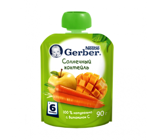 """gerber Пюре """"Солнечный коктейль"""" 90 гр. (6+)"""