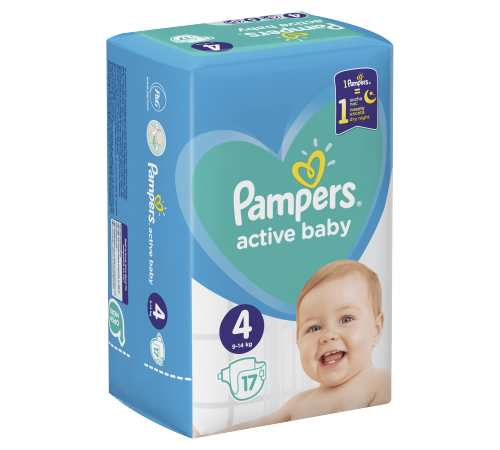 pampers active baby  4 (9-14 kg.) 17 buc.