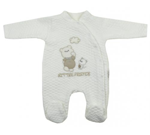 """Одежда для малышей в Молдове flexi 213653 Комбинезон """"Мишка с кошкой"""" в асc. (белый/серый) 0-12 мес."""