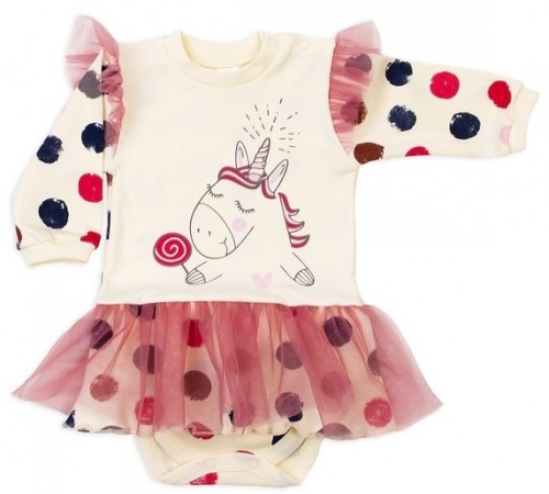 """Одежда для малышей в Молдове veres 102-7.87.74 Боди-платье длинный рукав """"sweet unicorn"""" ( р.74)"""