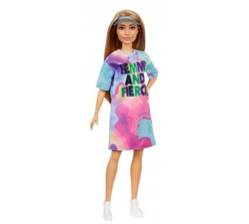 "barbie grb51 Кукла Барби ""Модница"" в разноцветном платье и кепке-козырьке"