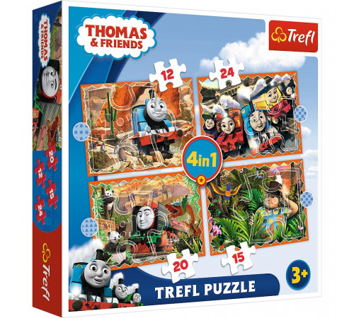 "trefl 34354 puzzle-uri 4-în-1 ""thomas și prietenii"" (15/12/20/24 el.)"