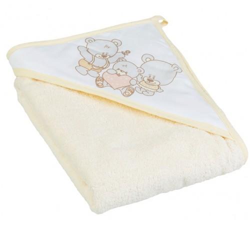 "tega baby Полотенце с капюшоном ""Мишка"" ms-015-19 (100х100 см.) бежевый"