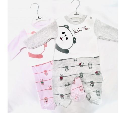 """Одежда для малышей в Молдове flexi 113495 Комбинезон """"Панда"""" серый (0-12 мес.)"""