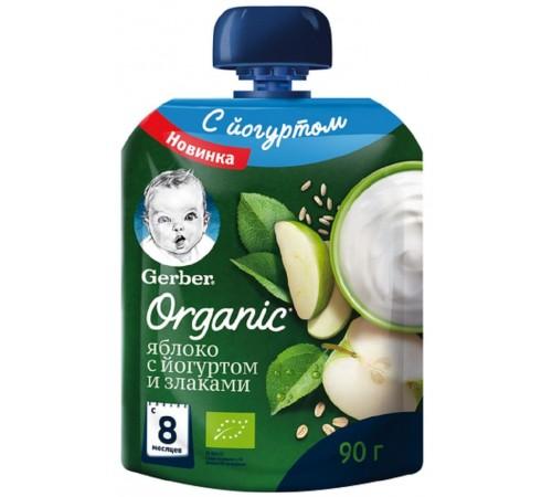 gerber organic piure de mere cu iaurt și cereale 90 gr. (8m +)