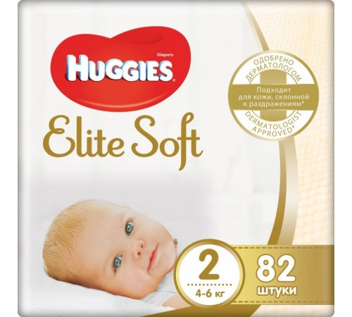 huggies elite soft 2 (4-6 кг.) 82 шт.